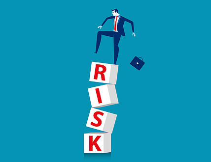 High risk. Businessman standing in cube. Concept bsuiness vector illustration.
